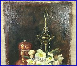 Tableau / Peinture / Huile Sur Toile Signée Nature Morte Aux Fleurs 69 X 48