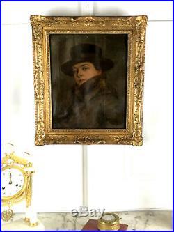 Tableau / Peinture / Huile Sur Toile (portrait Femme Au Chapeau) Année 1900