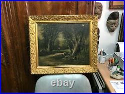 Tableau Peinture Huile sur toile Barbizon Forêt personnage signé CH ép XIX ème