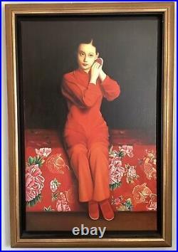 Tableau Peinture à l'huile Portrait Jeune Fille en rouge à la rose XXe Siècle