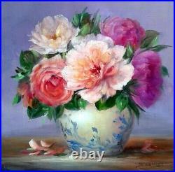 Tableau Peinture à l'huile nature morte bouquet de roses sur toile originale