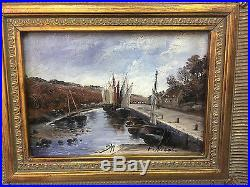 Tableau / Peinture /huile Sur Toile Marine Les Bateaux Signée F. Nicoli