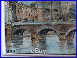 Tableau Pont au Change Paris huile sur toile signée Raymond Besse