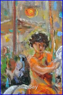 Tableau Portrait Fillette Enfant Manège Katherine Librowicz Pologne Ecole Paris