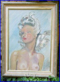 Tableau Portrait Parisienne Nue en Buste Pin-up Pomponnée-vintage 1950-1960