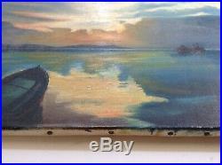Tableau Post Impressionniste Marine Bateau Couché de Soleil Hyères Huile signée