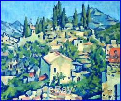 Tableau Provence Jolie Vue Malaucène 1959 Provence Sud suiveur Chabaud 38 x 45