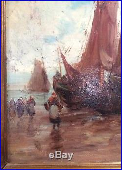 Tableau XX Eme-hollande-charles Dehoy 1903-huile Sur Toile-impressioniste-marine