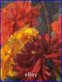 Tableau XXe Bouquets De Fleurs Vase Huile Sur Toile Circa 1930