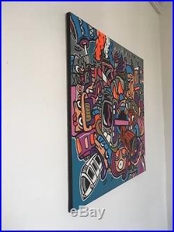 Tableau abstrait acrylique et marqueur pop-art street-art fluo toile sur châssis