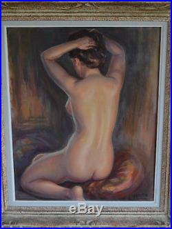 Tableau albert GENTA portrait femme nue au chignon huile sur toile