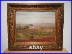 Tableau ancien 19 siècle peinture paysage agriculteur campagne G BUSSIERE