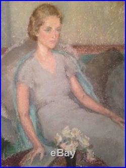 Tableau ancien Amélie SAUGER La Liseuse Femme sur le Divan Pastel sur papier