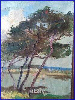 Tableau ancien Bretagne Concarneau paysage marine pins maritimes bateau