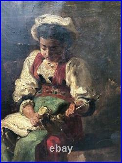 Tableau ancien Ecole Française Vers 1880, Jeune Italienne. Monogrammé LB