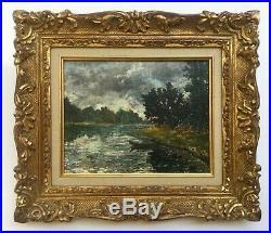Tableau ancien, Huile sur toile, Paysage fluvial, Cadre bois doré, Début XXe