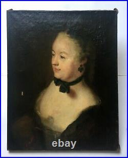 Tableau ancien, Huile sur toile, Portrait de femme au tour de cou, XIXe ou XXe