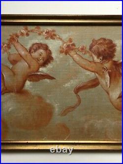 Tableau ancien, Huile sur toile marouflée, Angelots, Putti, Début XXe