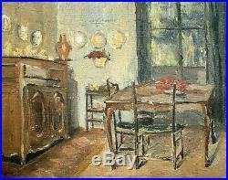 Tableau ancien Huile sur toile scène de genre intérieur cuisine début XXème