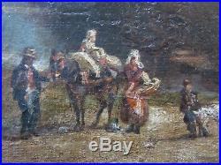 Tableau ancien Peinture Huile Paysage animé. Provence. Milieu XIXème