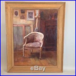 Tableau ancien Peinture scene d'intérieur