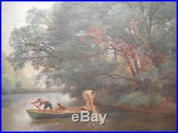 Tableau ancien XIX 19 siècle Albert F LAURENS peinture pecheur bord rivière