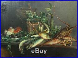 Tableau ancien XIX grande nature morte aux poissons et fruits de mer, langouste