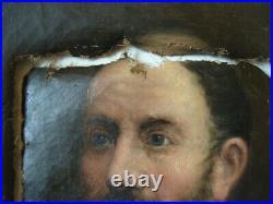 Tableau ancien huile peinture toile portrait homme barbe 19e à restaurer man oil