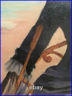 Tableau ancien huile sur toile elegante à la plage