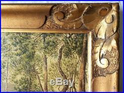 Tableau ancien huile sur toile sous-bois Cannes J. L. Varlet début XXème 1927
