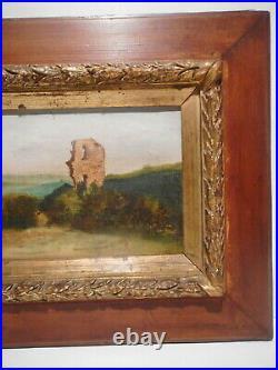 Tableau ancien peinture 19 / 20 siècle paysage campagne ruine