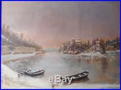 Tableau ancien peinture 19 siècle Lyon Ile Barbe bord rivière Saone hivers