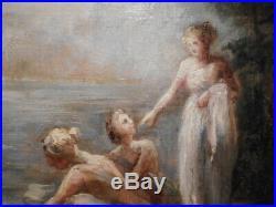 Tableau ancien peinture néo classique S Nathusius groupe femme baigneuse