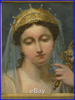 Tableau ancien, portrait de femme couronnée miroir et serpent, fin XVIII° siècle