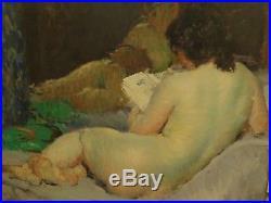 Tableau ancien portrait femme nue Impressionisme Louis Francois Biloul peinture
