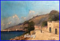 Tableau ancien signé, Huile sur toile, Paysage animé, Bord de mer, Début XXe
