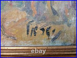 Tableau ancien signé Israel Huile sur toile, paysage au nord d'israel, Début XXe