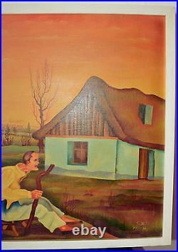 Tableau art NAÏFPaysage symboliste signé SMÄD 1973 JAN HUSARIK1942. PADINA