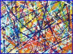 Tableau art abstrait contemporain art brut de 80 x 80 cm grand format acrylique