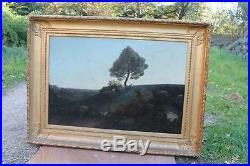 Tableau cadre peinture sur toile Auguste Aiguier thème rare paysage et chèvres
