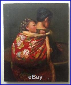 Tableau contemporain Beau Portrait Enfant et Mère Chinoise Huile sur toile