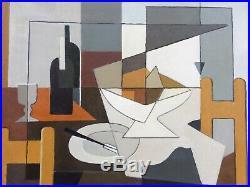 Tableau cubiste Charles MERANGEL (1908-1993) Ecole de Paris nature morte au vin