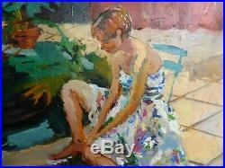 Tableau de Pierre CORNU Jeune fille en robe à fleurs HST 50x61 cm