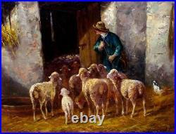 Tableau début 20ème Jeanne Froment Troupeau de Moutons Berger