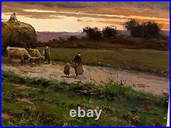 Tableau encadré huile sur toile Josep Colomer Comas 1935-2003 Retour de la vigne