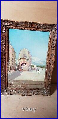 Tableau h/t Louis Nattero peintre Provençal Toulon rue animée