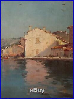 Tableau huile sur toile Antoine PONCHIN (1872-1934) marine port début XXème