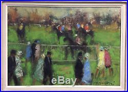 Tableau huile sur toile Jacques Bartoli Champ de Courses Chevaux Equitation