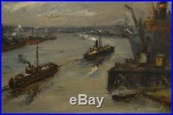 Tableau huile sur toile Maurice VAUMOUSSE Ecole de rouen Port de Rouen