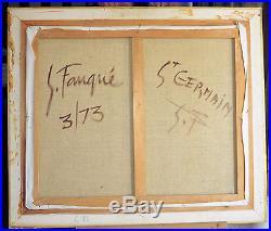 Tableau huile sur toile ST GERMAINcafé de Paris, signé et daté S. FAUQUÉ, 3/73